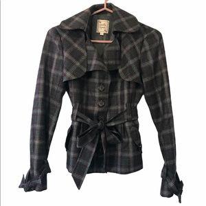 Nanette Lepore 100% Wool Plaid Jacket, Size 2